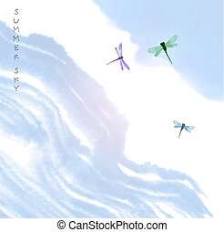 kék, nyár, sumi-e, sky., go-hua., hagyományos, keleti, festékez festmény, u-sin, szitakötők