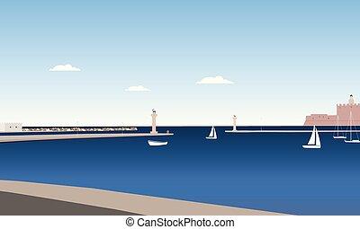 kék, nyár, szobrok, sziget, tenger, alatt, ég, lesiklik, őz, kiköt, rodosz, elhomályosul, oszlop