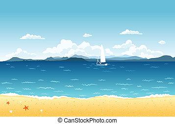 kék, nyár, vitorlázás, hegyek, táj, tenger, csónakázik, horizon.