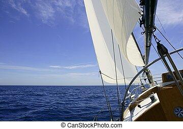 kék, nyár, vitorlázás, vitorlás hajó, napos, tenger, nap