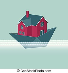 kék, nyaraló, elszigetelt, háttér., dolgozat, boat.
