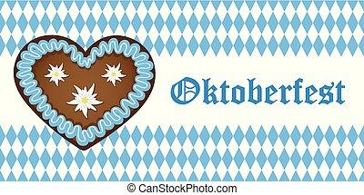 kék, oktoberfest, bajorország, szív, lobogó, háttér, gyömbéres mézeskalács, fehér, transzparens