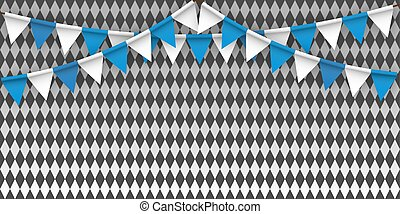 kék, oktoberfest, zászlók, háttér, fehér, diamonds.