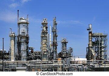kék, olaj, ég, iparág, fém, láthatár, bevezetés