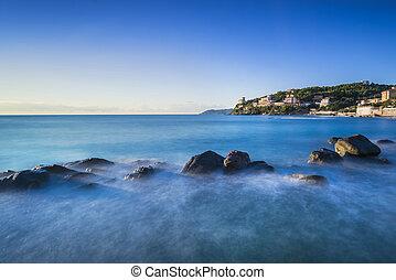 kék, olaszország, castiglioncello, hintáztatni, toszkána, óceán, sunset.