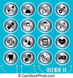 kék, orvosi, állhatatos, ikonok