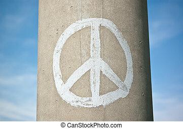 kék, oszlop, béke, ég, aláír, beton