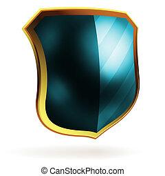 kék, pajzs, eps, vektor, item., sablon, 8