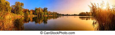 kék, panoráma, napnyugta, tó, arany