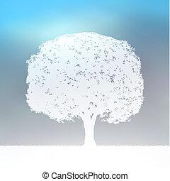 kék, parkosít., árnykép, fa, eps, 8, fehér