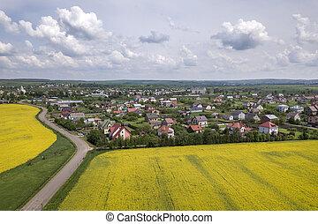 kék, photography., antenna, hely, megfog, kilátás, ég, háttér., külváros, henyél, zöld, rapeseed, horizont, virágzó, detektívek, épület, másol, út, föld