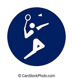 kék, pictogram, kerek, tollaslabda, új, sport, circle., ikon