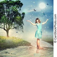 kék, pillangók, patak, varázslatos, leány