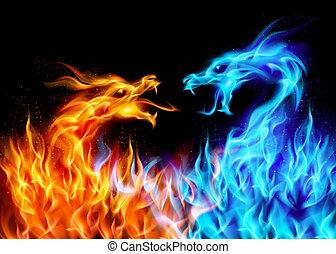 kék, piros, elbocsát, sárkányok