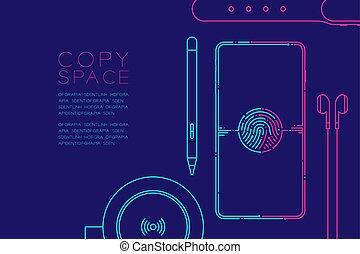 kék, rózsaszínű, smartphone, fogalom, eps10, hely, szerkentyű, editable, elszigetelt, ábra, csattanás, ütés, egyenes, vektor, berendezés, háttér, sötét, másol, elektronikus, tervezés
