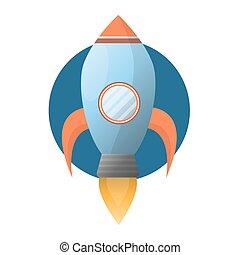 kék, rakéta, hely, elbocsát, erős, tágas, turbina