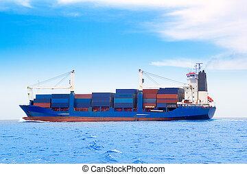kék, rakomány, dep, tenger, hajó, tároló