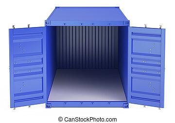 kék, rakomány, kinyitott, konténer, vakolás, elülső, nézet., üres, 3