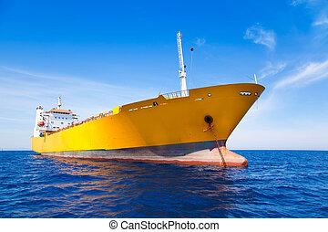 kék, rakomány, sárga tenger, vasmacska, csónakázik