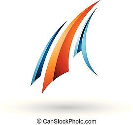 kék, repülés, ábra, vektor, sima, levél, narancs