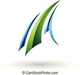 kék, repülés, ábra, vektor, zöld, sima, levél