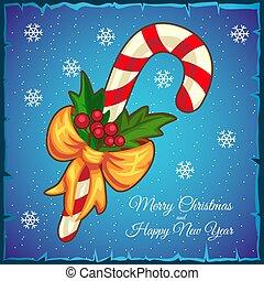 kék, sétabot, card., cukorka, háttér., vektor, sablon, karácsony, illustration.