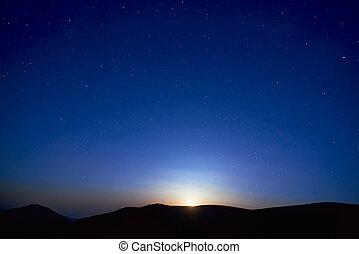kék, sötét ég, csillaggal díszít, éjszaka