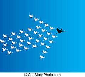 kék, sötét, fogalom, ólom, repülés, hattyú, ég, szám, mély, synergy, ellen, vezetés, ábra, háttér, nagy, :, hattyú, vezető