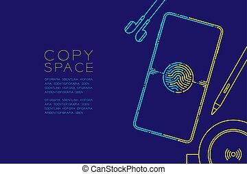 kék, sötét, smartphone, fogalom, eps10, berendezés, hely, szerkentyű, editable, elszigetelt, sárga, csattanás, ütés, egyenes, vektor, ábra, háttér, másol, elektronikus, tervezés