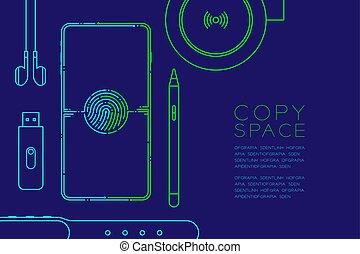 kék, sötét, smartphone, fogalom, eps10, hely, szerkentyű, editable, elszigetelt, ábra, csattanás, ütés, egyenes, vektor, berendezés, háttér, zöld, másol, elektronikus, tervezés