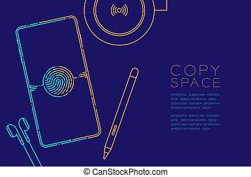 kék, sötét, smartphone, fogalom, eps10, hely, szerkentyű, editable, elszigetelt, ábra, csattanás, ütés, egyenes, vektor, berendezés, háttér, narancs, másol, elektronikus, tervezés