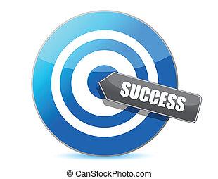 kék, siker, ábra, céltábla
