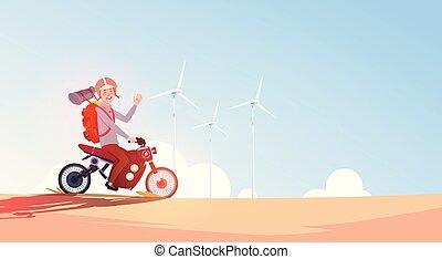 kék, sisak, el, ég, utazás, turbines, út bicikli, motorkerékpár, lovaglás, pasas, felett, felteker, ember