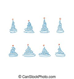 kék, skicc, állhatatos, tető, bitófák, dekoráció, labda, vektor, karácsony, piros
