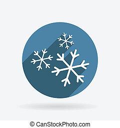 kék, snowflake., karika, árnyék, ikon