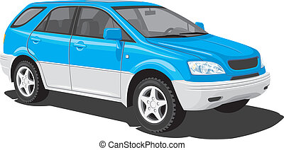 kék, sport közmű jármű