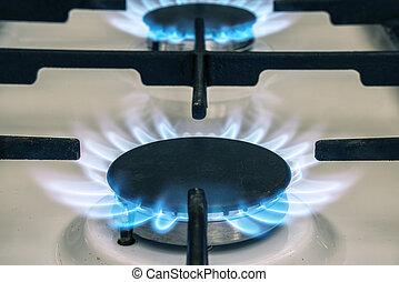 kék, stove., elbocsát, kályha, gáz, kitchen., láng