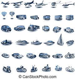 kék, szállít, ikonok