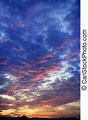 kék, színes, ég, felhős, napnyugta, piros