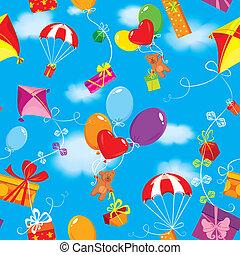 kék, színes, tehetség, teddy tart, motívum, papírsárkány, ég, ajándékoz, seamless, ejtőernyő, clouds., háttér, léggömb, dobozok