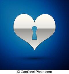 kék, szív, bezárt, jelkép, heart., elszigetelt, ábra, ezüst, háttér., vektor, kulcslyuk, szeret, cégtábla., ikon