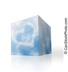 kék, szív, elhomályosul, alakú, ég, doboz