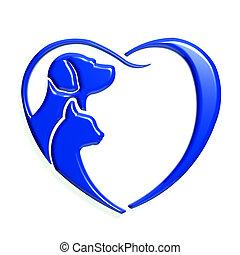kék, szív, grafikus, szeret, kutya, macska, 3