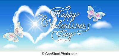 kék, szív, gratuláló, elhomályosul, szöveg, ég, calligraphic, withbutterflies, felhő, kézírásos