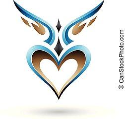 kék, szív, szeret, szárnyas, ábra, vektor, árnyék, madár