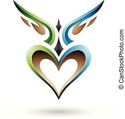 kék, szív, szeret, szárnyas, ábra, vektor, zöld, árnyék, madár