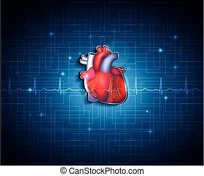 kék, szív, technológia, egészséges, háttér