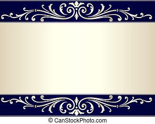 kék, szüret, felcsavar, beige háttér, ezüst