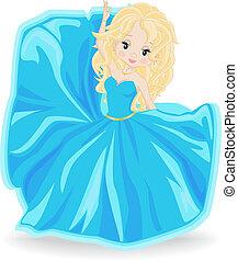 kék, szőke, estélyi ruha, leány