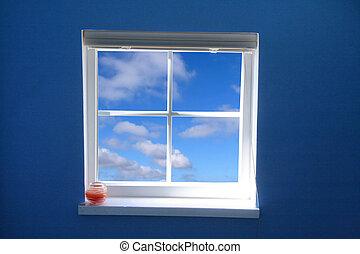 kék, szabadság, ablak, fogalom, ég
